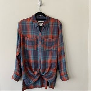 Treasure & Bond Plaid Relaxed Fit Button Top